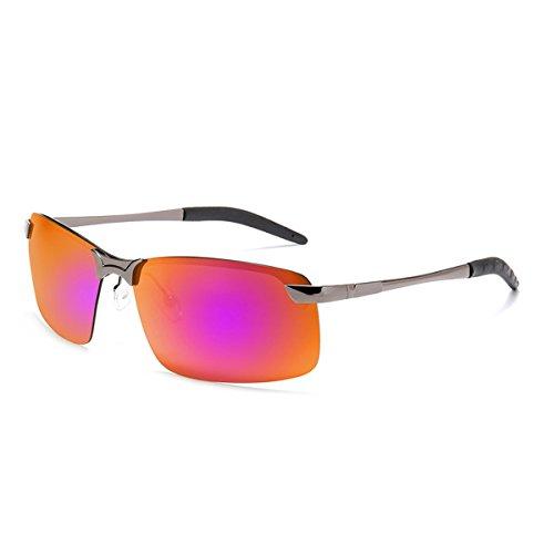 Laura Fairy Sports Style Light Night Vision Men Metal Driving Sunglasses-gun grey (rose red - Rose Red Glasses
