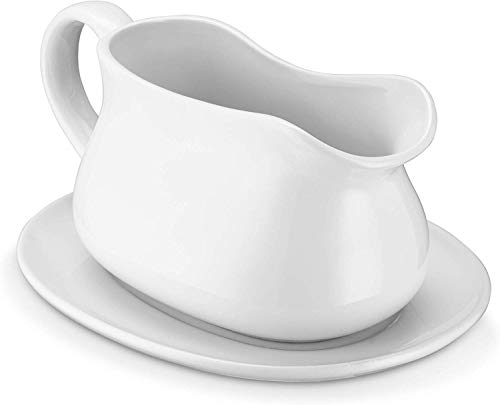LANXIM 17 oz Porcelain Gravy Sauce Boat with Ceramic Tray, Easy-Pour White Gravy Boat with Saucer Stand for Salad Dressings, Milk,Broth, CreamerMicrowave & Dishwasher Safe