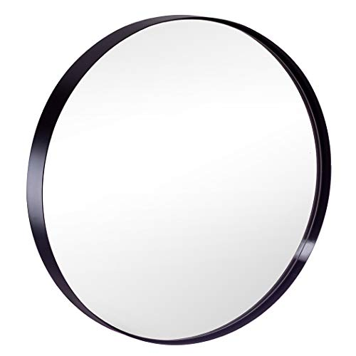 Round Wall Mirror for Bathroom, 30 Inch Black Circle Mirror Modern Premium Stainless Steel Metal Frame Wall Mounted for Bathroom, Entryway, Vanity, Living Room, Bedroom (Circles Mirror With)