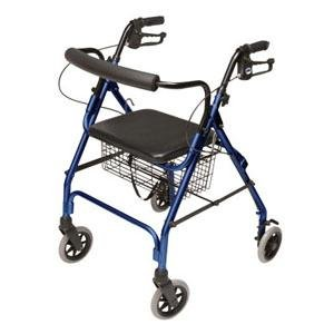 Lumex Walkabout Lite Four-Wheel Rollator, Blue, 6'' Wheel