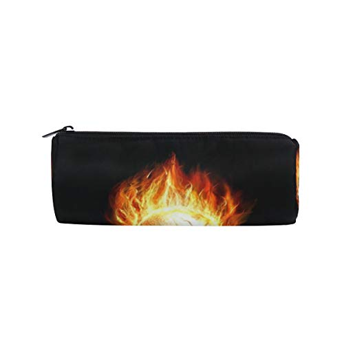 DEZIRO Flaming Skull Drum Students Stationery Pouch Zipper - Drums Flaming