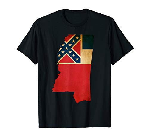 Mississippi State Flag Map T Shirt