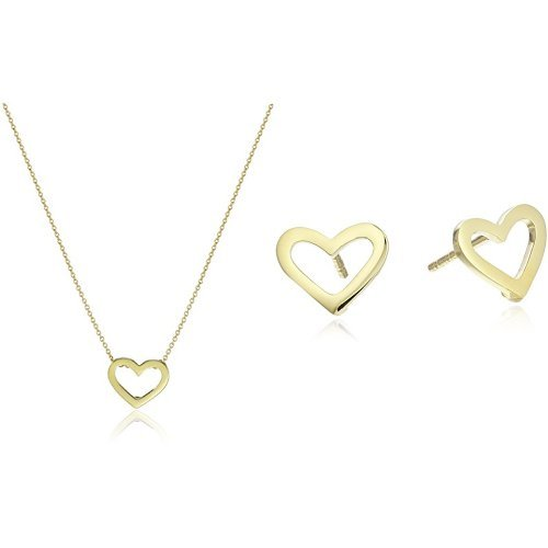 Roberto Coin Tiny Treasures 18k Yellow Gold Open Heart Pendant Necklace and Stud Earrings - Coin Roberto Jewelry Set