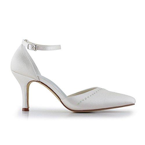 Jia Talon Bout Femme De A3133 Pompes Mariée Blanc Pointu En Chaussures Strass Haut Satin Mariage Xqxrg1X