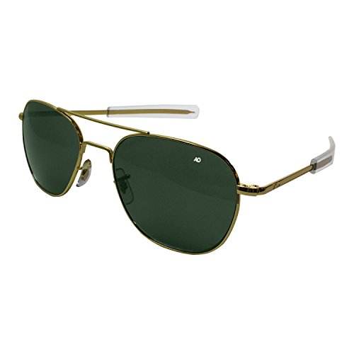 - AO Eyewear American Optical - Original Pilot Aviator Sunglasses with Bayonet Temple and Gold Frame, Calobar Green Glass Lens