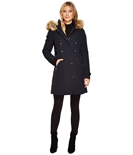 Vince Camuto Womens Faux Fur Hooded Down with Cinch Waist N1721 Navy SM (US 4-6) One Size