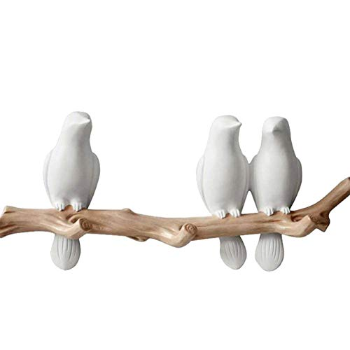 (Birds On Tree Branch Decor Wall Mounted Coat Rack with Hooks for Coats, Hats, Keys, Towels (3)