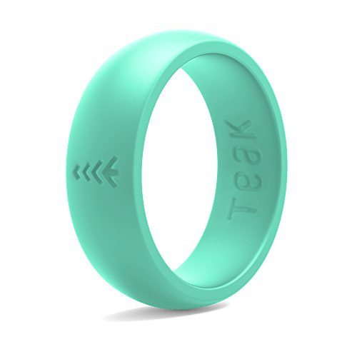 Silicone Wedding Ring for Women. Rubber Wedding Band for Every Day Use - Yoga, Training, Sports, Military, Work, Travel and Outdoor - Teal - Size 6