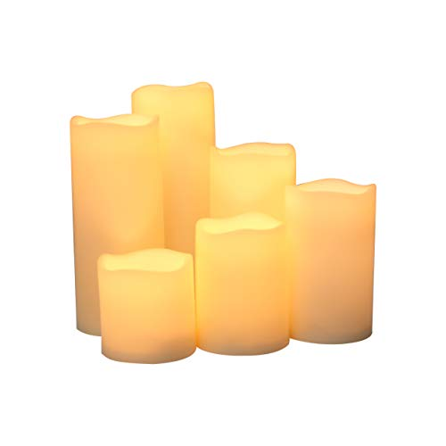 """iZAN Outdoor Flameless LED Candles with Timer - Waterproof Plastic Realistic Flickering Battery Operated LED Pillar Candles Long Lasting 1500 H Battery Life 3""""x3""""/4""""/5""""/6""""/7""""/8"""" Waved Edge 6-Pack by iZAN"""