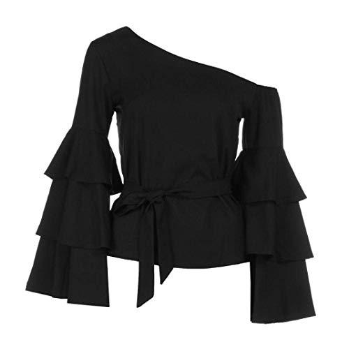 Abbigliamento Party A Tops Moda Maniche Primaverile Donna Elegante One Lunghe Autunno Cinghietti Monocromo Top Bluse Casual Schwarz Shirts Camicia Shoulder awq0vB