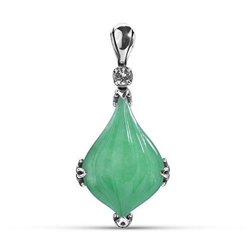 Carolyn Pollack Sterling Silver Green Jade Gemstone Carved Pendant Enhancer