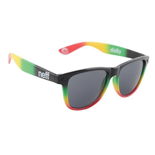 Neff Daily Shades Men's Sunglasses with Cloth Pouch - 100% UV Protection Sunglasses for Men - Sunglasses for Cycling, Running and Driving,Rasta Spray