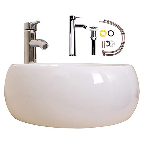(Walcut White Porcelain Ceramic Vanity Sink Vessel Sink With Chrome Faucet W/Chrome Pop Up Drain (Cylinder))