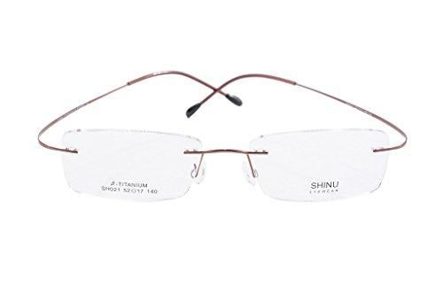 SHINU Titanium Frame Glasses Prescription Lens Eyeglasses Metal Rimless for Men Rxable-SH021(brown,demo - Glasses Titanium Frame