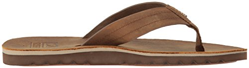 Men Reef Le for Footbed Leather Brown Premium Cushion Sandal Mens Soft Flip Voyage with Bronze Flops Real Waterproof rFArvqx