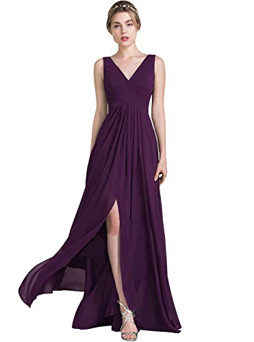 6fffed758d4 WuliDress V Neck Backless Long Slit Side Chiffon Beach Wedding Bridesmaid  Dresses Pleated Formal Evening Gown Plum Size 8
