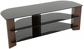 TV Furniture Direct - Soporte para televisor (Efecto Madera, con Pantalla LCD de Cristal Negro, Curvado, televisores LED de hasta 165 cm) Nogal: Amazon.es: Electrónica