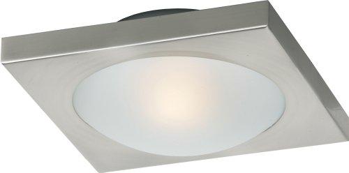 ET2 Lighting E20530-09, Piccolo Square Glass Flush Mount Lighting, 1 Light, 35 Total Watts Halogen, Nickel