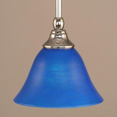 Stem Mini Pendant w Blue Italian Glass in Chrome Finish