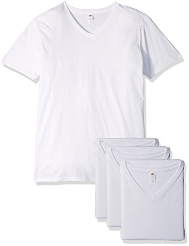 Fruit of the Loom Men's V-Neck T-Shirt (4 Pack), White, XXX-Large ()