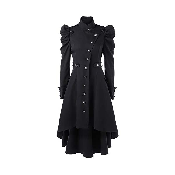 STORTO Womens Vintage Steampunk Long Coat,Plus Size Gothic Retro Button Jacket 3