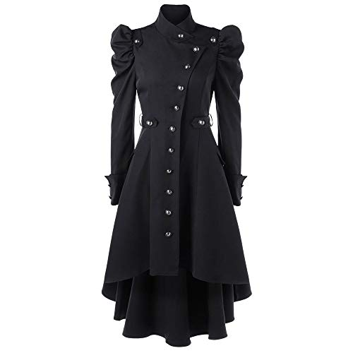 (BODOAO Vintage Womens Steampunk Victorian Swallow Tail Long Trench Coat Jacket Thin Outwear)