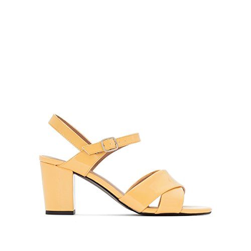La Redoute Collections Womens Patent Yellow Crossover Strap Sandals Yellow