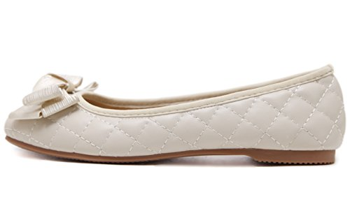 Work Shoes on Women's Flat Bow School DADAWEN Pumps apricot Office Dolly Slip Ballet xpqwnP