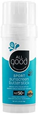 All Good Sports Sunscreen Butter Stick - Organic - Zinc Oxide for Face, Nose, Ears - Coral Reef Safe - Water Resistant - SPF 50 (2.75 oz)