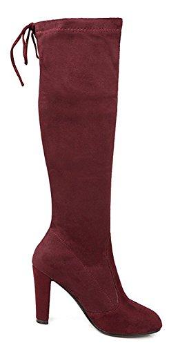 Cuissardes Genou Bottes Rouge Vineux Mode Femme Aisun Pointues Etw4F4q