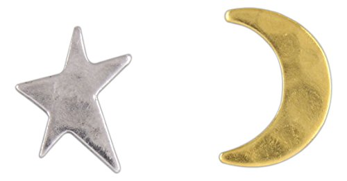(Nature Cast Metalworks Post Earrings (Two-Tone Star & Crescent Moon))