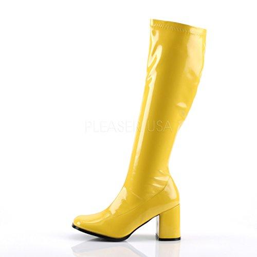 Donna Gogo Giallo yellow Scarpe Funtasma Collo Alto Patent 300 A Da Z0wAS