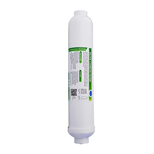 Membrane Solutions Universal Inline Carbon Water Filter 5 Micron Inline Filter 10 inch Quick Connect, 1-Pack