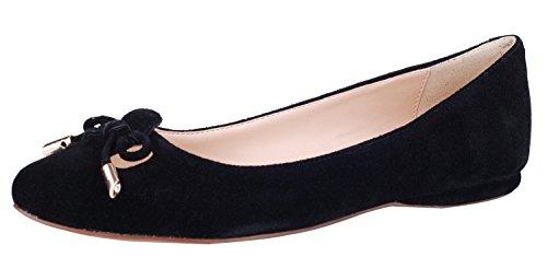 queenfoot Pump602 - Mocasines de Ante para mujer C-Black suede