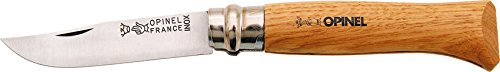 """Opinel Knives 00647 4 3/8"""" Folding Clip Point Knife with Oak Handle"""