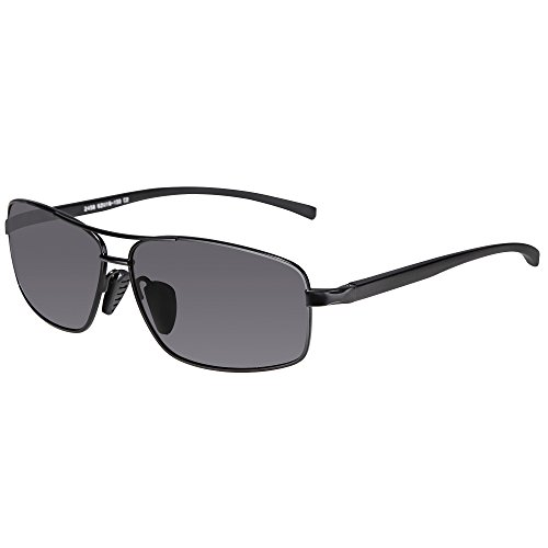 SUNGAIT Ultra Lightweight Rectangular Polarized Sunglasses 100% UV protection (Black Frame Gray Lens, 62) Metal Frame 2458 - Uv Polarized And Sunglasses