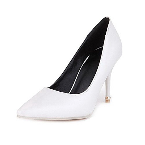 VogueZone009 Women's Pointed Closed Toe Pull On Pu Solid Spikes Stilettos Pumps-Shoes White DPd1lRX