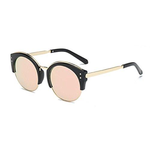 Lunettes de rondes dames protection GAOLIXIA soleil UV400 classique mode Rose hommes monture de sans monture pour de soleil demi femmes semi lunettes qqArB