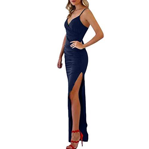 (Toimothcn Women Solid V Neck Sling Bodycon Dress Sleeveless Spaghetti Strap High Split Evening Party Long Ball Gowns(Blue2,XL))