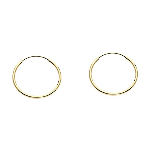 14k Yellow Gold Endless Hoop Earrings, ()