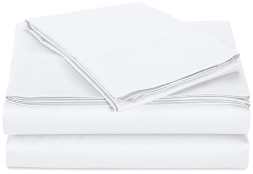 AmazonBasics 400 Thread Count Sheet Set, 100% Cotton, Sateen Finish - Twin, (Set White Finish)
