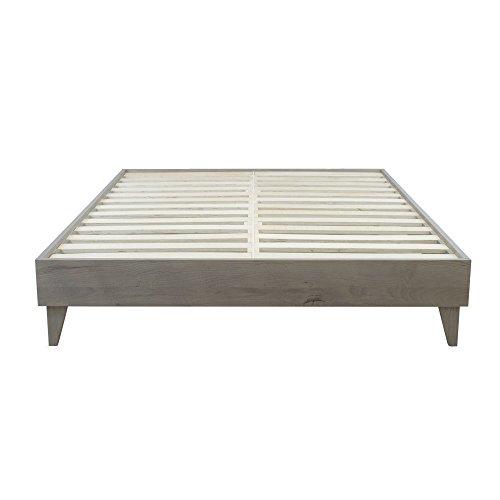 eLuxurySupply Wood Platform Bed Frame Solid Hardwood – 100 Handmade by Amish Craftsmen No Box Spring Required Mattress Foundation Mid Century Modern Bedroom Decor California King