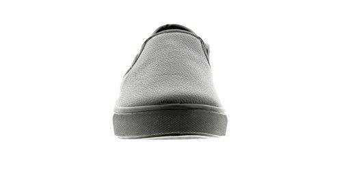 NEU Damen / Damen/ Mädchen ohne Bügel Skater Stil Schuhe mit gemasertem PU Uppe - schwarz - UK Größen 2-8
