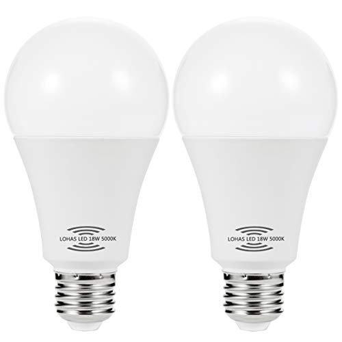 LOHAS Motion Sensor Light Bulb, 18W(150W Equivalent) E26 Radar Sensor Bulbs, Dusk to Dawn Security Light Bulb for Porch,Garage,Hallway,Closet, Front Door(Daylight White 2 Pack)