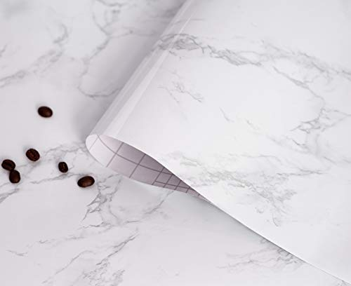 White Marble Contact Paper Thicken Waterproof Self-Adhesive Contact Paper for Countertops 3D Removable Peel and Stick Wallpaper Wall DIY Design Wallpaper 17.71 x 78.7 Back Splashes for Kitchens