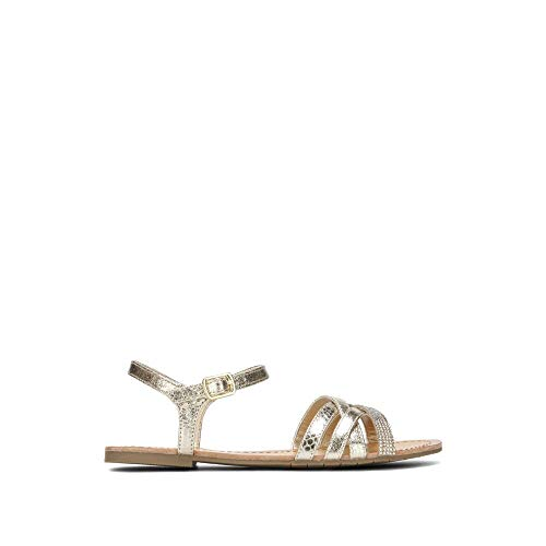 Kenneth Cole REACTION Women's Just New Flat Sandal with Criss Cross Ankle Straps, Gold, 7.5 M US ()
