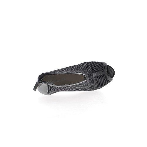 Low-boots FishNet negro abierto tacón 11cm y bandeja 1 cm