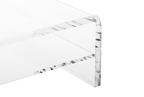 Clear Acrylic Laptop Stand Monitor Riser with Shelf; Underneath Storage Shelf for Paper, Office Accessories - Raises Screen 4