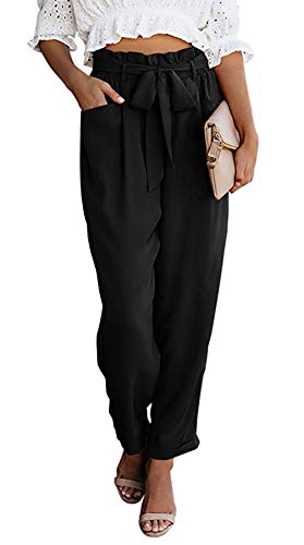 NEWFANGLE Women Paper Bag Pants Elastic High Waist Slim Casual Long Pants Cropped with Pockets,Black,S