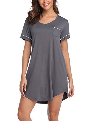 (Lusofie Sleepshirts Women Short Sleeve Sleepwear V Neck Nightdress Summer Nightgowns (3353 Grey,X-Large))